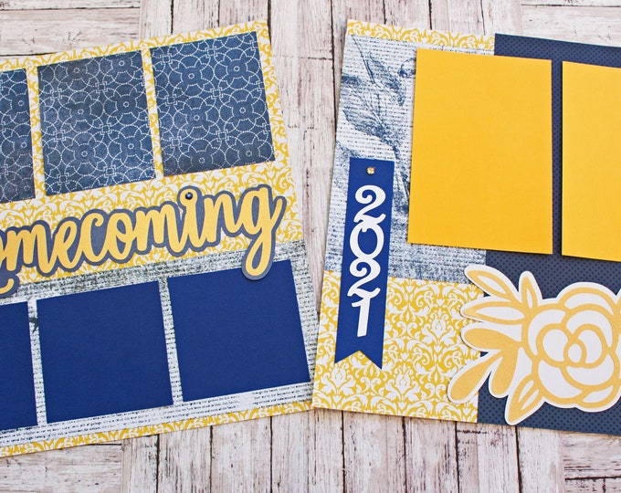 Any Color, Custom Made, Homecoming Scrapbook Pages, Memory Scrap Book, High School Memories, Elegant Roses Design,  Premade Home Coming Set