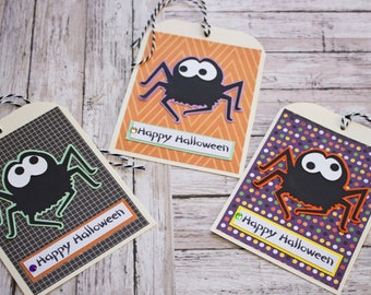 Halloween Spider Tags, Large Tag Set, Set of 3 Hang Tags, Party Decor, Treat Bag, Name Tag, Handmade Gift Tag, Cute Spider Party Favor Tag