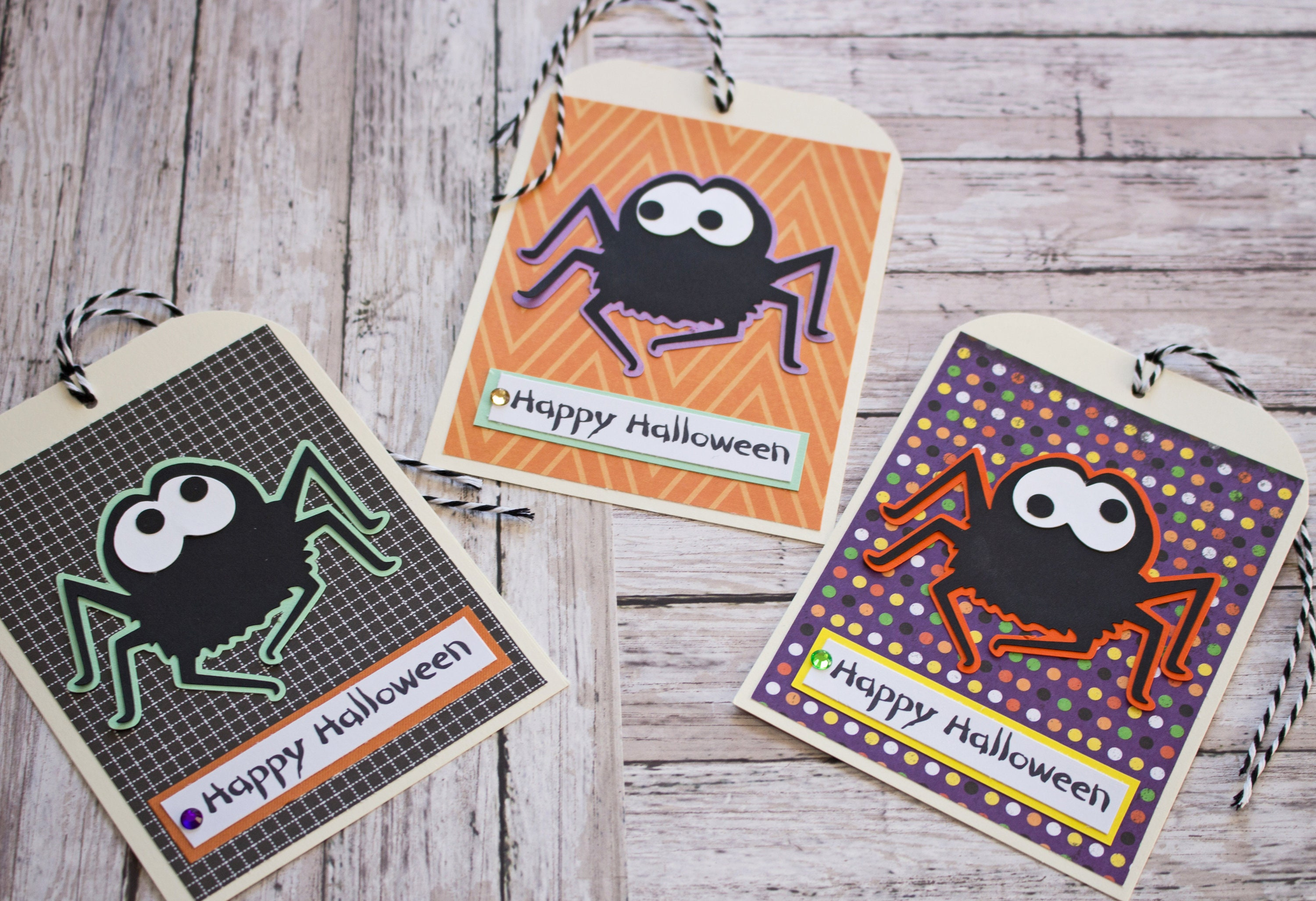 halloween spider tags, large tag set, set of 3 hang tags, party