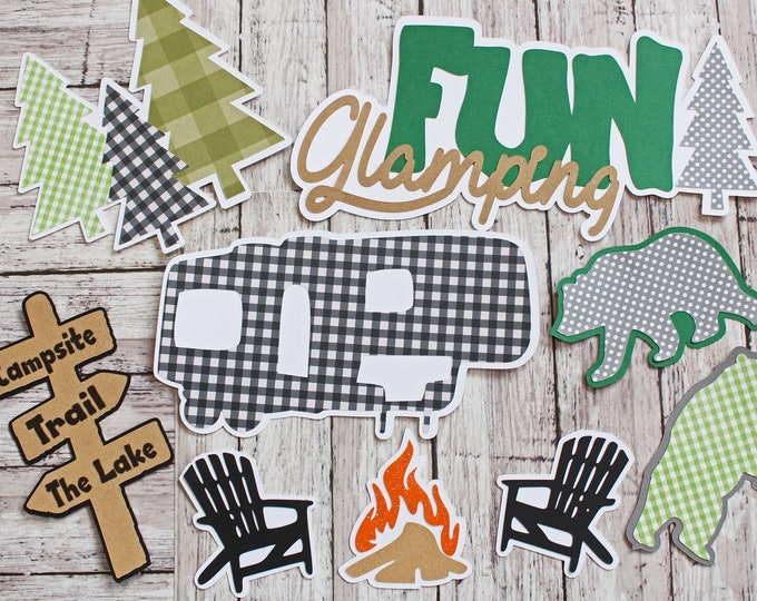 Custom Colors, Fun Glamping Die Cuts,  9 Piece Set, Layered Diecuts, Camping Scrapbook, Travel RV Trailer, 5th Wheel Camper, Road Tripping