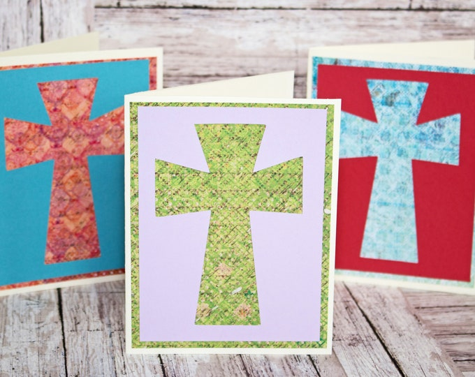 Holy Cross Card Set, Set of 3 Cards, Jesus Christ Cross, Handmade Greeting, Colorful Crosses, Religious Stationary, Note Cards, Any Occasion