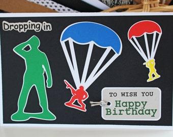 Boys Army Birthday Card, Little Green Army Men, Personalized Birthday Card, Parachute, Military, Colorful, Birthday Card for Boys, Military