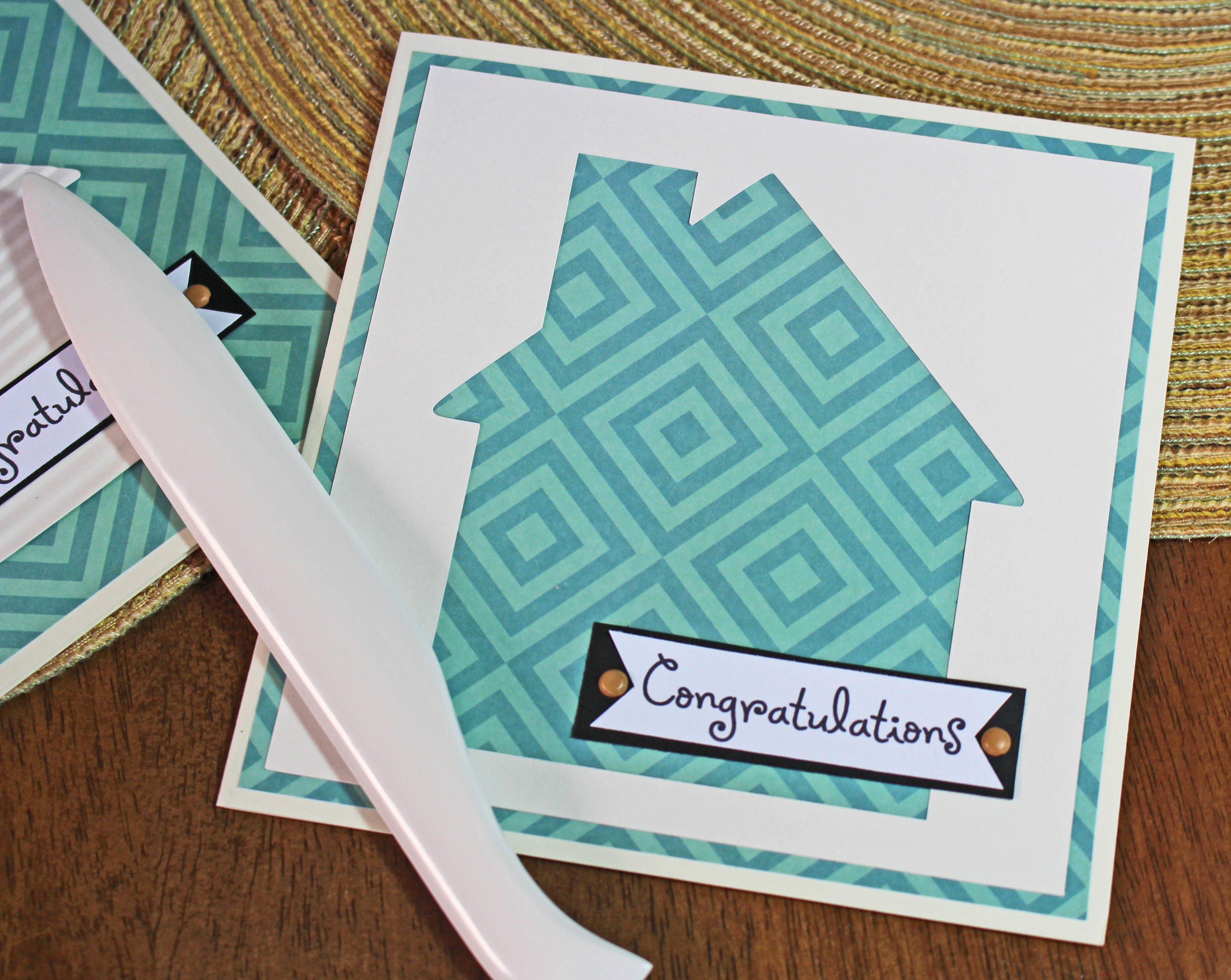 Modern House Warming Handmade Card Retro House Southwest Print
