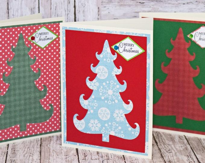Set of 3, Christmas Tree Cards, Christmas Tree Cutouts, Handmade Greeting Cards, Christmas Greetings, Christmas Card Set, Pattern Tree Card