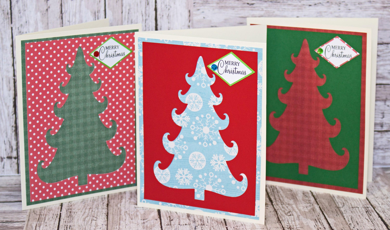Set Of 3 Christmas Tree Cards Christmas Tree Cutouts Handmade