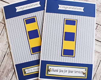 US Navy Promotion Card, Officer or Enlisted, Custom Rank Promotion, Handmade Greeting, Retirement, USN Promotion, Squid Sailor Achievement,