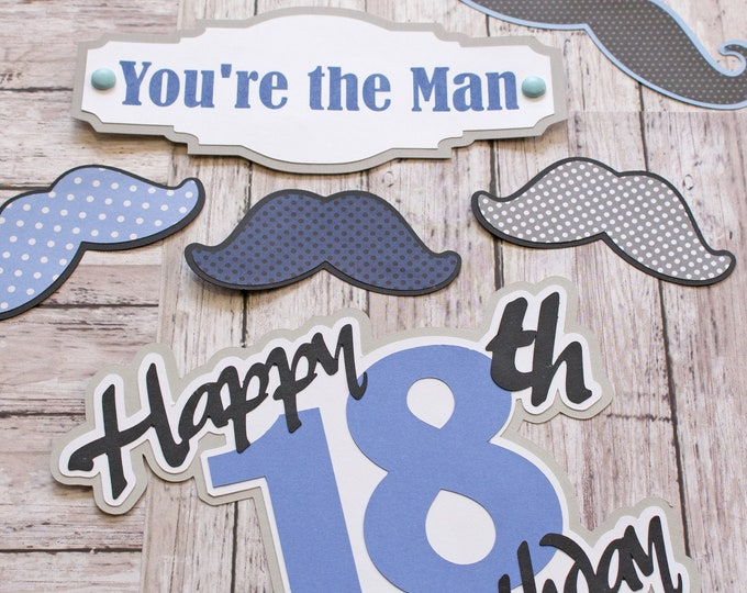 Any Colors, Any Birthday Year, Set of 6, Layered Die Cuts, Scrapbook Embellishment, You're the Man, Handmade Mustache Diecut, Men's Birthday