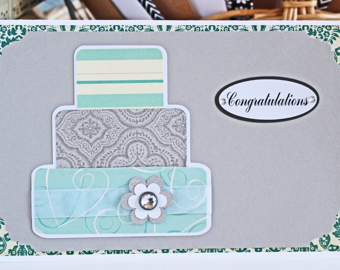 Teal Layered Wedding Cake Card - Wedding, Congratulations, Handmade, Card, Mint, Teal, Silver, Turquoise, Bride, Groom, Cake, Newlywed, Love