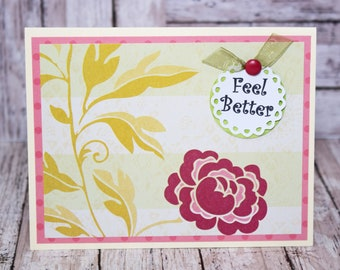 2 Message Options, Get Well Card, Thinking of You Card, Handmade Rose Greeting, Blank Card with Roses, Sympathy, Bereavement, Feel Better