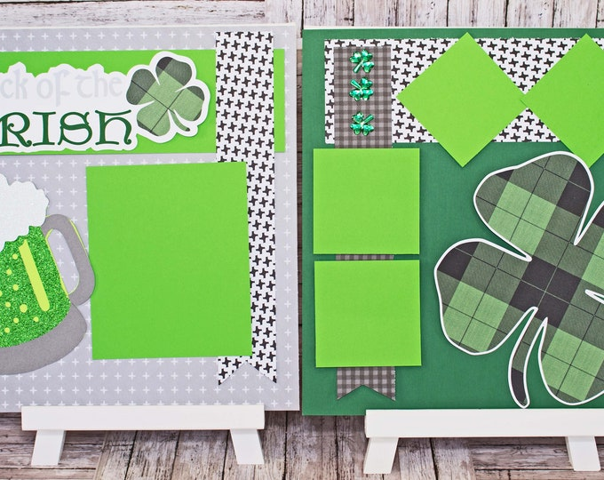 St. Paddy's Day Scrapbook, Pre-made Scrapbook Page Set, Scrapbook Page Layout, Luck o the Irish, St Patrick's Day Scrapbook Page, Green Beer
