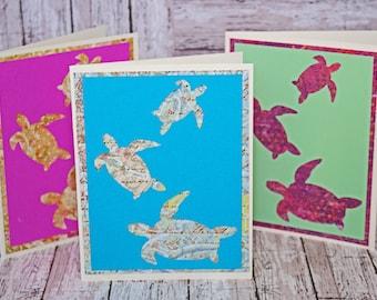Set of 3, Sea Turtle Note Cards, Sea Turtle Card Set, Handmade Sea Turtle Card, Sea Turtle Thank You, Sea Turtle Birthday, Handmade Card Set