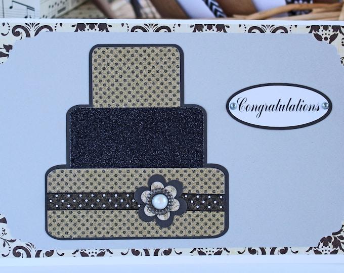 Gold and Black Layered Wedding Cake Card - Wedding, Congratulations, Handmade, Card, Gold, Silver, Black, Bride, Groom, Cake, Newlywed, Love