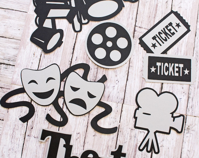 Any Color, Theater Die Cut Set, Set of 6, Scrapbooking, High School, Theatre Thespian, School Colors, Handmade Embellishments, Party Decor