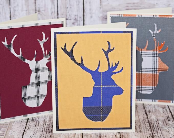 Set of 3, Stag Head Note Cards, Stationary, Deer Head, Buck Head, Deer Skull, Antler Card, Birthday Card, Blank Note Card Set, Handmade Card