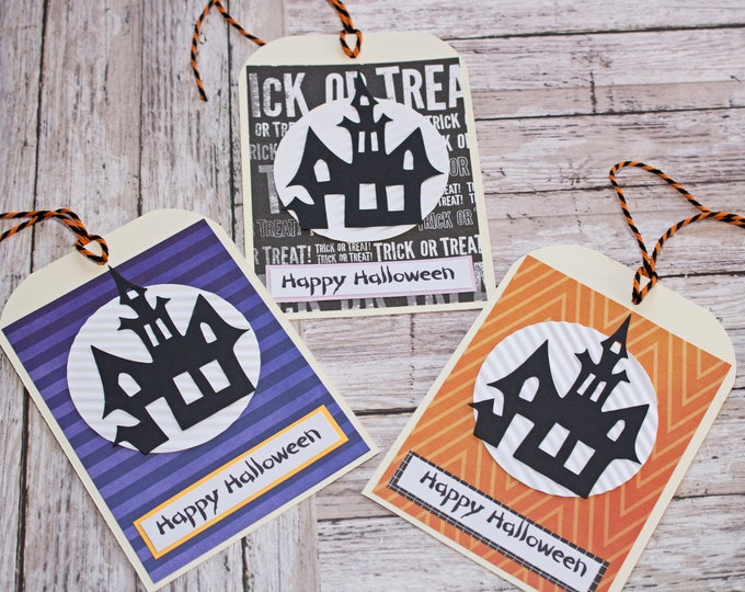 Haunted House Treat Tags, Large Tag Set, Set of 3 Hang Tags, Party Decor, Treat Bag, Name Tag, Halloween Tag, Haunted Mansion Party Favor