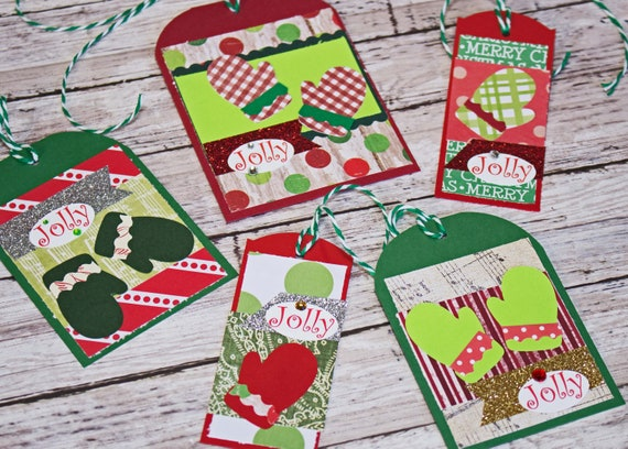 Christmas Gift Tags Handmade.Set Of 5 Assorted Christmas Gift Tags Handmade Mitten Hang Tag Present Wrap Embellishment Holiday Gifts Jolly Winter Snow Knit Gloves