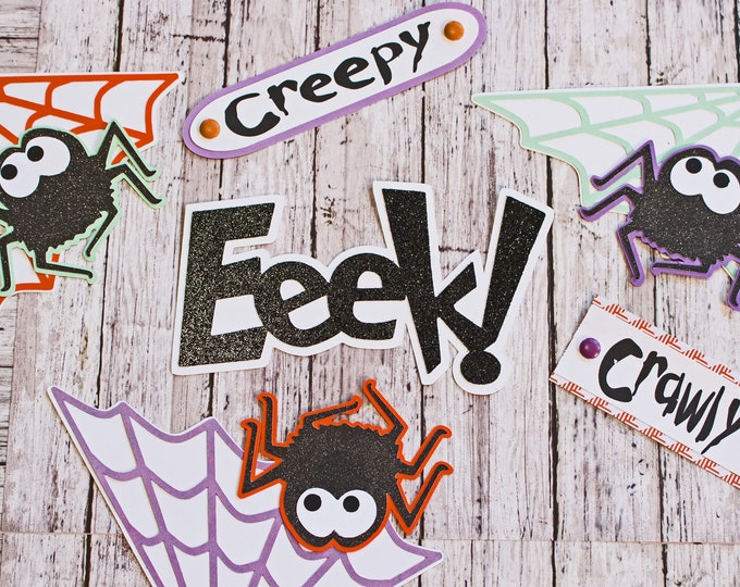Halloween Die Cut Set, Set of 9, Spider Web, Scrapbook Embellishment, Handmade Paper, Layered Die Cuts, Cute Spider Theme, Creepy Crawly Web