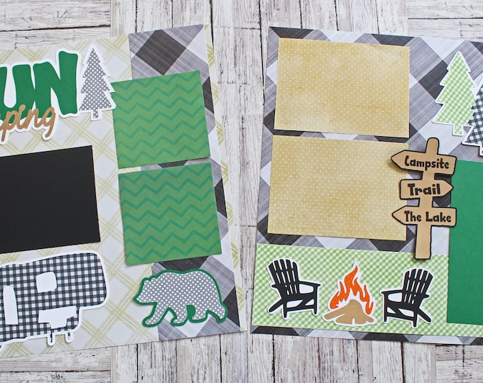 Fun Glamping, Custom Colors, Travel RV Trailer, 5th Wheel, Happy Campers, Road Tripping Memories, 12x12 Camping Pages, 2 Page Scrapbook Set
