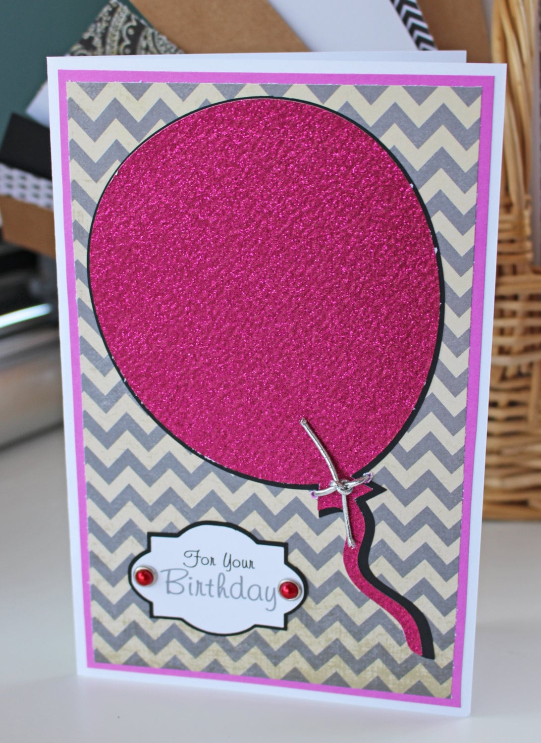 Balloon Birthday Card For Her Personalized Glitter