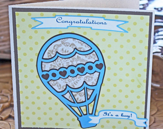 It's a Boy!, Hot Air Balloon Baby Card, Vintage Balloon Card, Hot Air Balloon, Handmade Card, Baby Boy Card, Baby Shower, Baby Boy Shower