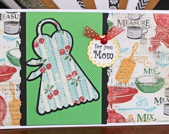 Custom Apron Card, Mother's Day, Birthday Cook, Handmade Greeting, Cooking and Baking, Bakery Pastry Chef, Ladies Apron, Kitchen Recipe Card