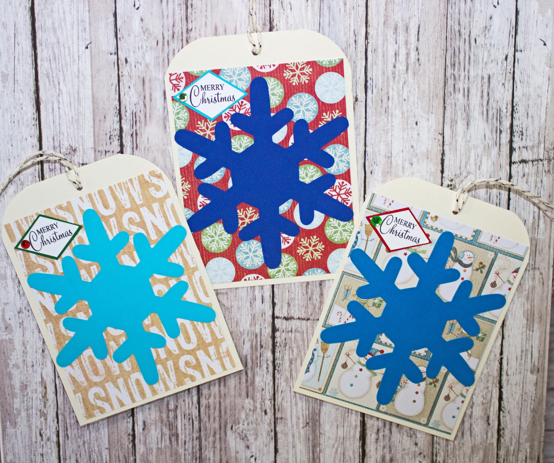 set of 3 large snowflake gift tags christmas tags gift tags holiday tags handmade tags large gift tag snowflake gift tags gift wrap - Christmas Tags Handmade