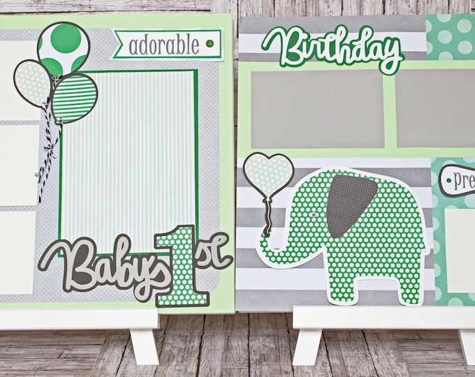 Any Color, Any Birthday Number or Theme, Custom Premade Kit, Personalized Scrapbook Page, Elephant Birthday, Memory Book, Balloon, Baby 1st