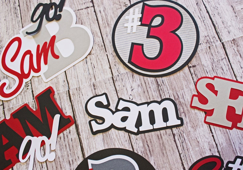 Team Colors Any Color Name Number Jersey # Personalized Name Youth Pro High School Handmade Diecuts Fully Customized Sports Die Cuts