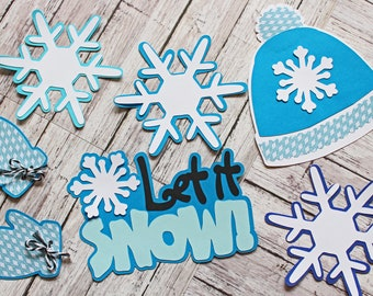 Let it Snow, Winter Theme, Set of 7, Layered Die Cuts, Scrapbook Embellishment, Snowflake Diecuts, Hat and Mittens, Hand Crafted, Snow Fun