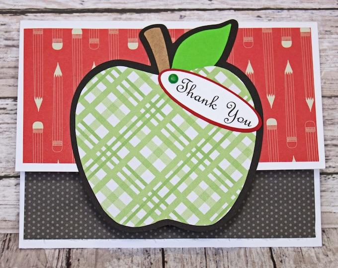 Teacher Thank You, Gift Card Holder, Teacher Gift Card, Apple Thank You, Handmade Card, Money Card, Teacher Appreciation, School Gift Card