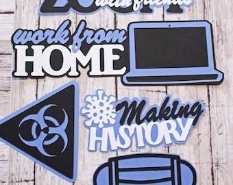 Work from Home, School at Home, Pandemic Die Cut Set, Custom Colors, Handmade Diecuts, Covid Scrapbook, Quarantine Theme, Social Distancing