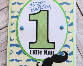Any Age Birthday Number, Custom Birthday Card, Baby Toddler Boy, Handmade Birthday Card, Mustache Birthday Theme, Little Man Mister, Staches