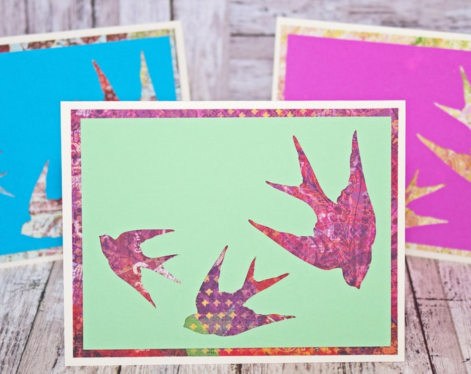 Set of 3, Bird Silhouette Note Cards, Handmade Cards, Bird Note Card Set, Flying Bird Note Cards, Bird Greeting Card, Birthday, Thank You