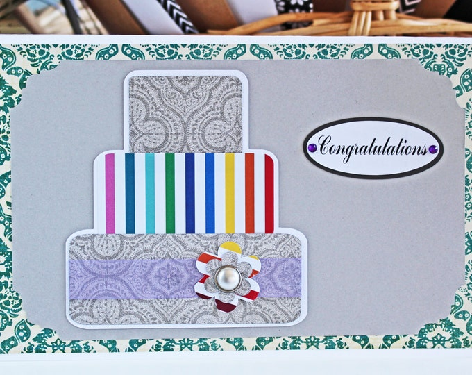 Colorful Layered Wedding Cake Card - Wedding, Congratulations, Handmade, Card, Rainbow, Silver, Colorful, Cake, Newlywed, Celebrate, Love