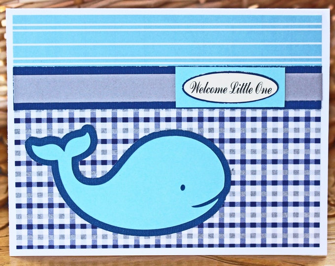 Baby Whale, Baby Boy Card, Whale Baby Shower, Handmade Card, Newborn Baby, Baby Boy, Whale Card, Nautical Baby Card, Nautical Baby Shower