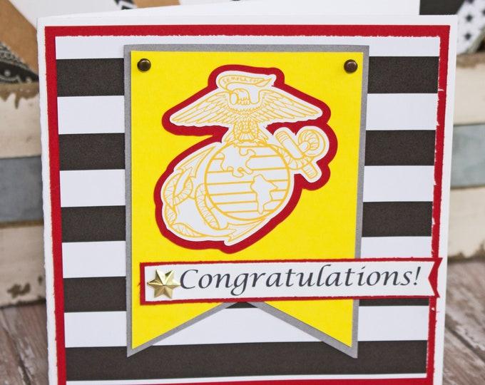 US Marine Corps Card, Marine Corps Retirement, Marine Corps Promotion, Marine Corps Graduation, US Military, Marin Corps Card, Handmade Card