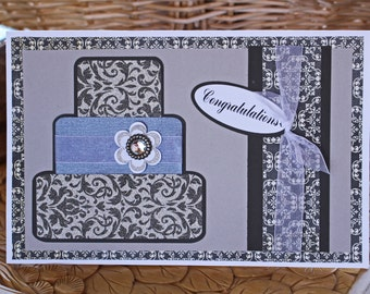 Custom, Layered, 3, Tier, Wedding, Day, Cake, Handmade, Card, Marriage, Anniversary, Newlywed, Elegant, Formal, Bride, Groom, Silver, Black