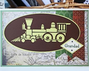 Custom Train Card, Father's Day Card, Birthday Card, Steam Engine Card, Locomotive Card, Train Engine Card, Handmade Card, Train Birthday