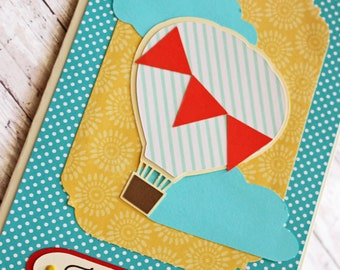 Get Well Soon, Feel Better, Handmade Card, Hot Air Balloon, Uplifting Balloon Card, Lift Your Spirits, Cheery Greeting, Bright and Cheerful
