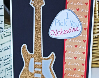 I Pick You Electric Guitar Valentine Card, Love Rock and Roll, Valentine's Day, Music, Gold Glitter, Electric Guitar, Guitar Pick, Valentine
