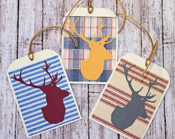 Set of 3, Large Stag Head Tags, Birthday Tags, Father's Day Tags, Handmade Gift Tag, Large Gift Tag, Deer Head, Elk Head, Buck Head, Antler