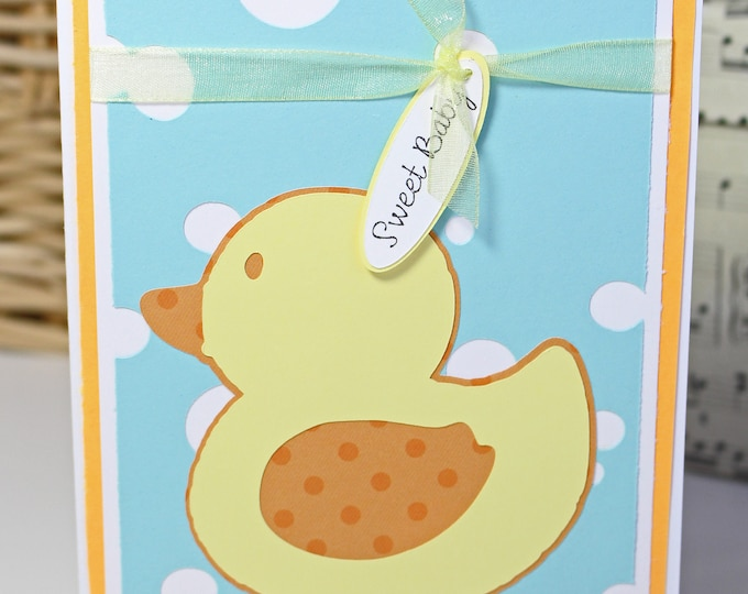 Duckling New Baby Card, Handmade Card, Baby Shower, Newborn Arrival, Expecting Mom and Dad, Baby Congrat, Rubber Ducky Bath Toy, Gift Card