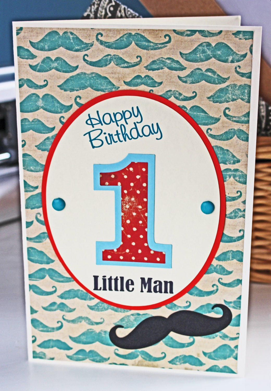 Custom Little Man Mustache Handmade Birthday Card 1st 2nd 3rd 4th 5th Boy Stache Son Toddler Baby Kid Nephew Personalized