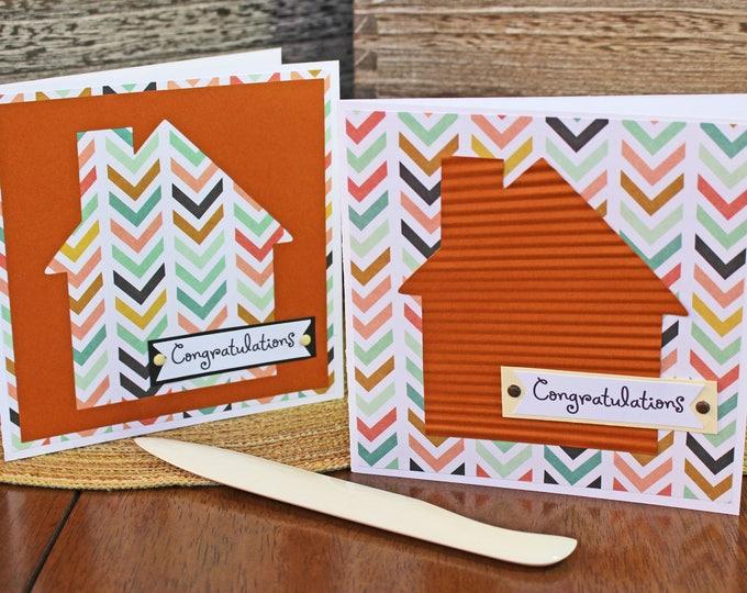 Modern, House Warming, Handmade Card, Retro House, Chevron Print, New Home, Congratulations, Housewarming, Congrats, First Home, Greeting