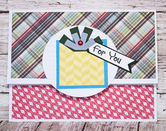 Birthday Gift Card Holder, Plaid Geometric Design, Masculine Money Card, Present Themed Card, Hand Made, Blue Green Black, Colorful Birthday