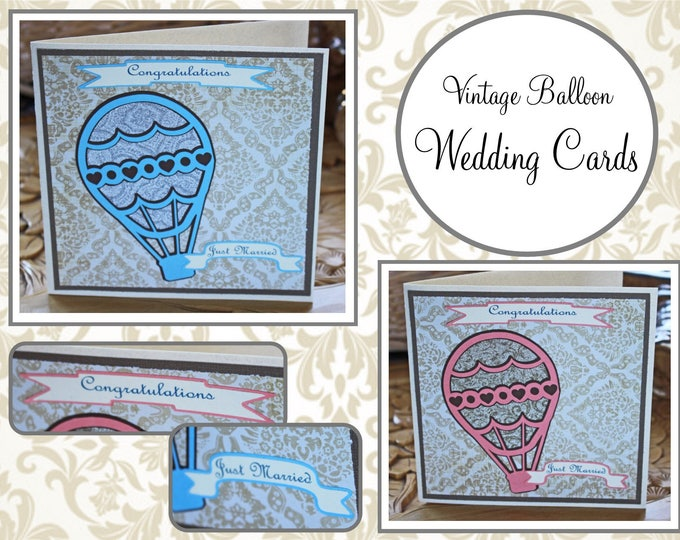 Customize, Color, Wedding, Vintage, Hot, Air, Balloon, Handmade, Card, Newlywed, I do, Just, Married, Engagement, Congratulations, Couple