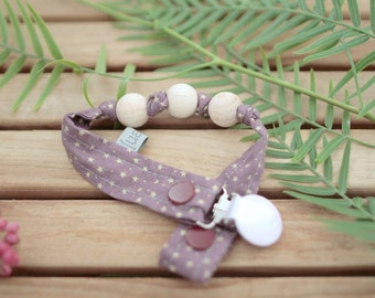 Chupetero-Wooden Baby Teether | Lilac with Mini stars