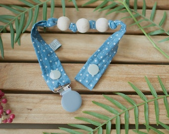 Chupetero-Wooden Baby Teether | Sky Blue & Stars