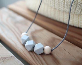 Breastfeeding Necklaces-light grey-BPA Free