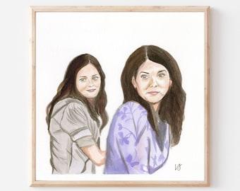 Gilmore Girls- Original Ink/Watercolor Art Print- Lorelei Gilmore Art- Rory Gilmore Art- Iconic TV Art Print- Mother Daughter Love- Funny TV